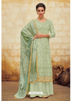 Green Faux Georgette Latest Palazzo Suit