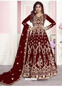Maroon Soft Net Embroidered Anarkali Suit