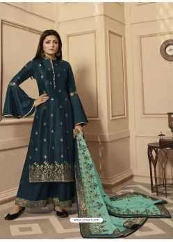 Teal Georgette Satin Designer Palazzo Suit