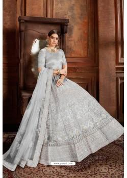 Light Grey Designer Soft Net Lehenga Choli