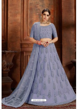 Blue Designer Soft Net Lehenga Choli