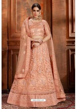 Light Orange Soft Net Thread Worked Designer Lehenga Choli