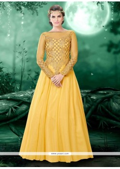 Flattering Yellow Resham Work Net Designer Ankle Length Anarkali Suit