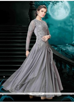 Mystical Embroidered Work Grey Ankle Length Anarkali Salwar Suit