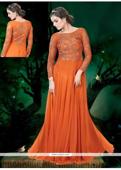 Dashing Net Embroidered Work Floor Length Anarkali Suit