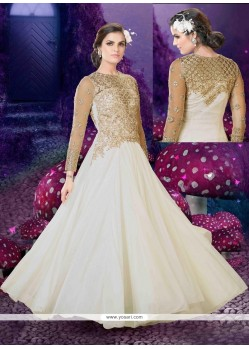 Glowing Zari Work Off White Anarkali Salwar Kameez