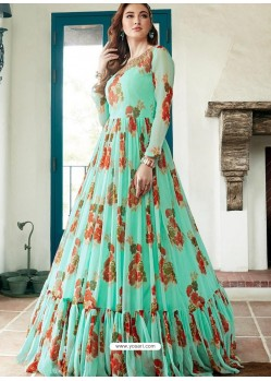 Sea Green Heavy Faux Georgette Handworked Party Wear Dress