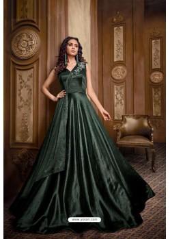 Beautiful Dark Green Designer Party Wear Net Gown