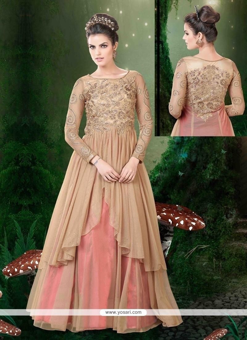 Dashing Net Embroidered Work Floor Length Anarkali Salwar Suit