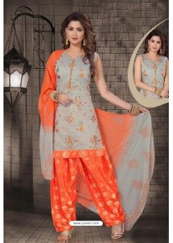 Grey Chanderi Computer Embroidered Salwar Suit