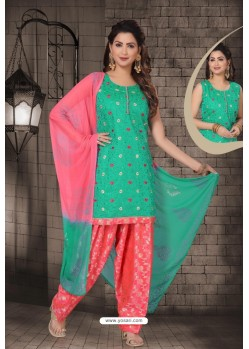 Fabulous Aqua Mint Chanderi Computer Embroidered Salwar Suit