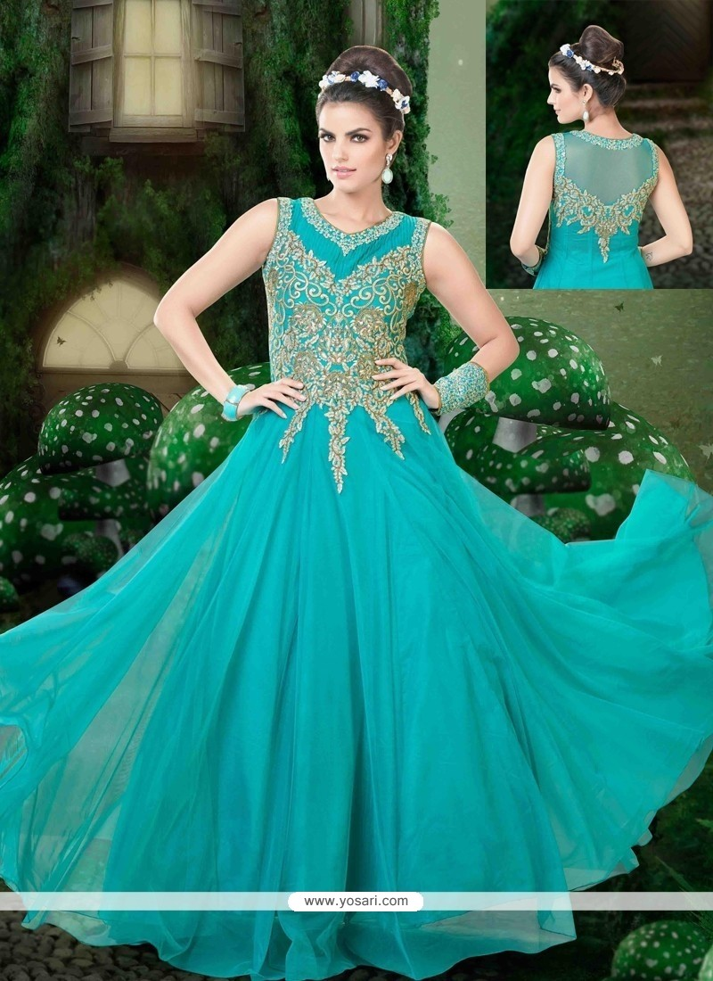 Gripping Net Blue Designer Floor Length Suit