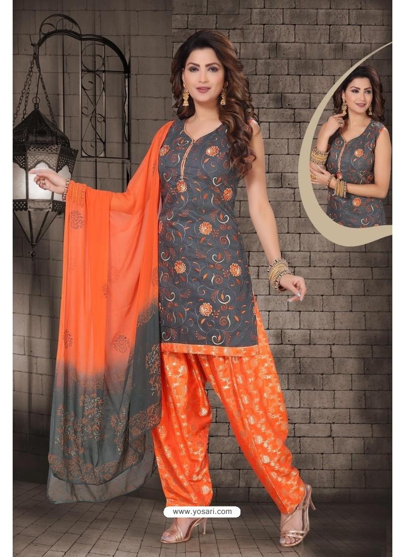 Carbon Chanderi Computer Embroidered Salwar Suit