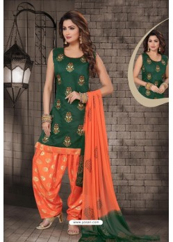 Dark Green Chanderi Computer Embroidered Salwar Suit
