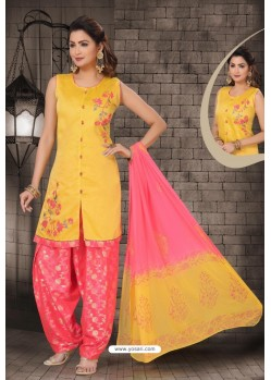 Yellow Chanderi Computer Embroidered Salwar Suit