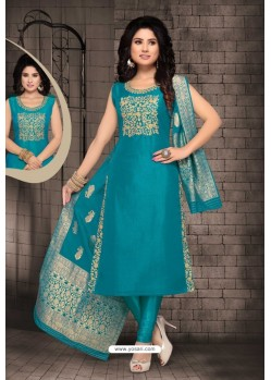 Teal Bhagalpuri Silk Designer Churidar Suit