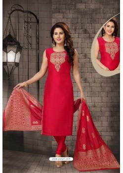 Red Bhagalpuri Silk Designer Churidar Suit