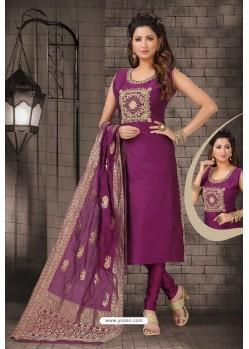 Trendy Purple Bhagalpuri Silk Designer Churidar Suit