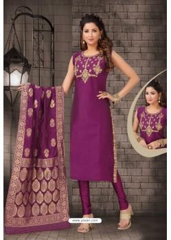 Pretty Purple Bhagalpuri Silk Designer Churidar Suit