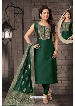 Tremendous Dark Green Bhagalpuri Silk Designer Churidar Suit