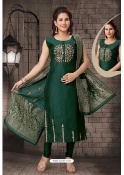Stunning Dark Green Bhagalpuri Silk Designer Churidar Suit