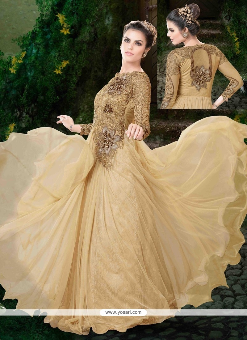 Beguiling Zari Work Cream Anarkali Suit