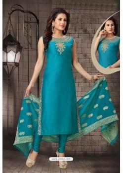 Teal Blue Bhagalpuri Silk Designer Churidar Suit