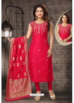 Ravishing Red Bhagalpuri Silk Designer Churidar Suit