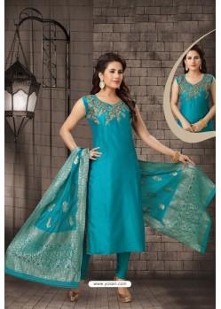 Stylish Teal Blue Bhagalpuri Silk Designer Churidar Suit