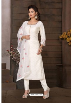 White Brocade Designer Churidar Suit