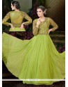 Festal Net Sea Green Zari Work Designer Floor Length Salwar Suit