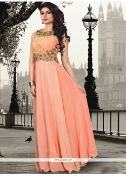 Sumptuous Peach Pure Crepe Floor Length Gown
