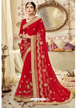 Excellent Red Georgette Embroidered Wedding Saree