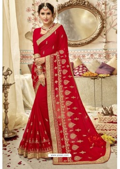 Latest Red Georgette Embroidered Wedding Saree