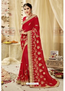 Desirable Red Georgette Embroidered Wedding Saree
