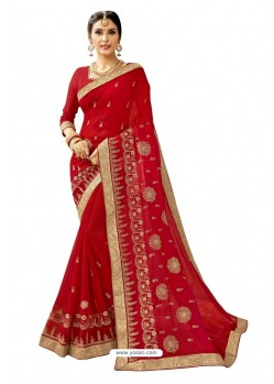 Beautiful Red Georgette Embroidered Wedding Saree