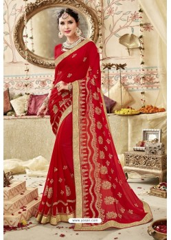 Perfect Red Georgette Embroidered Wedding Saree