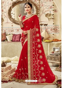 Stunning Red Georgette Embroidered Wedding Saree
