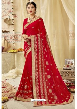 Gorgeous Red Georgette Embroidered Wedding Saree