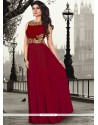 Blissful Maroon Pure Crepe Floor Length Gown