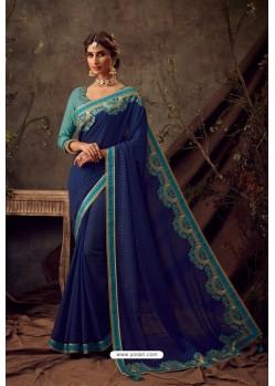 Royal Blue Poly Silk Embroidered Designer Saree