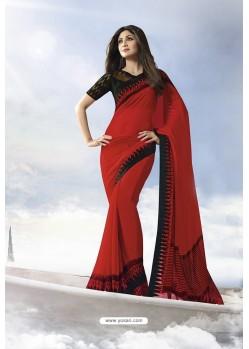 Red Satin Silk Designer Saree