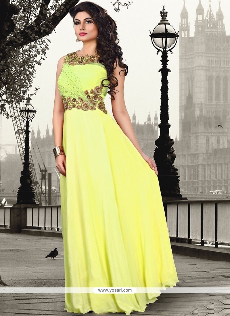 Flamboyant Yellow Pure Crepe Floor Length Gown