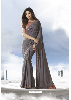 Grey Satin Silk Designer Saree