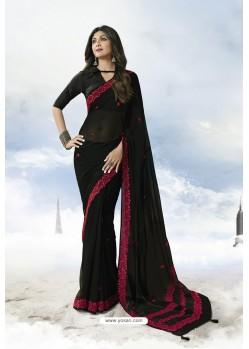 Black Satin Silk Designer Saree
