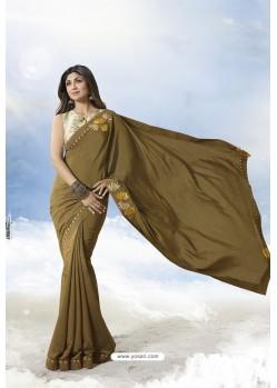 Marigold Satin Silk Designer Saree