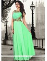 Bewitching Sea Green Pure Crepe Floor Length Gown