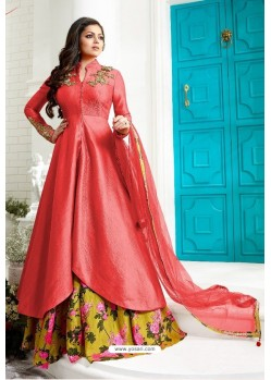 Dark Peach Tapetta Silk Designer Anarkali Suit