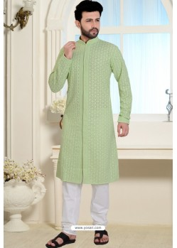 Green Cotton Polly Front Open Style Embroidered Kurta Pajama