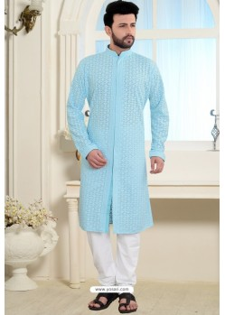 Sky Blue Cotton Polly Front Open Style Embroidered Kurta Pajama